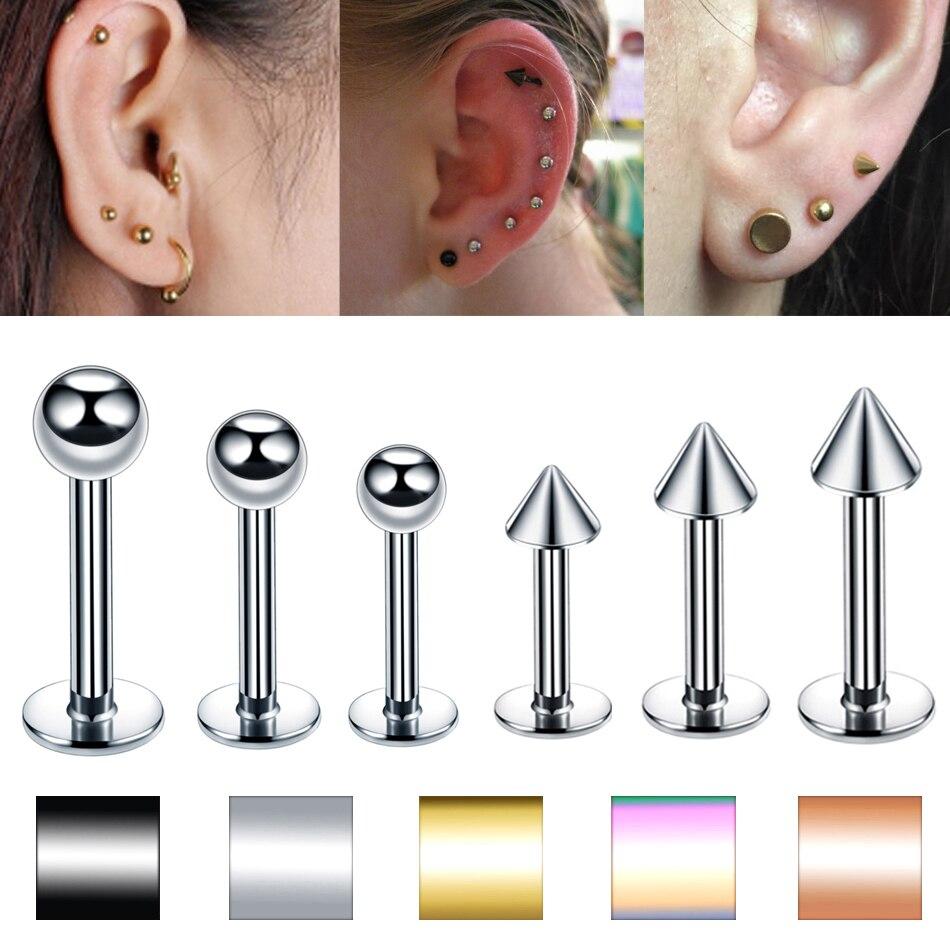16G UV Spike Surgical Steel Bar Cartilage Tragus Bar Ear Ring Piercing Stud