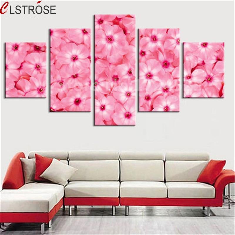CLSTROSE Unframed 5 Pieces Art Canvas Pictures Print Flower Canvas Painting Wall Art Home Decor Modulární nástěnné malby Plakáty