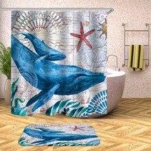 Shower Curtain Undersea World Whale Turtle Waterproof Bath Curtains For Bathroom Bathtub Bathing Cover Large Wide 12pcs Hooks