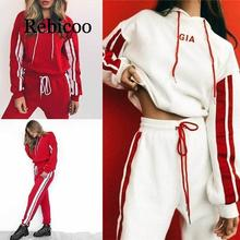 2019 New Women Tracksuit 2 Piece Set Casual Sportswear Hooded Sweatshirt Tops and Pants Two Piece Sets Women Outfits 2018 цена