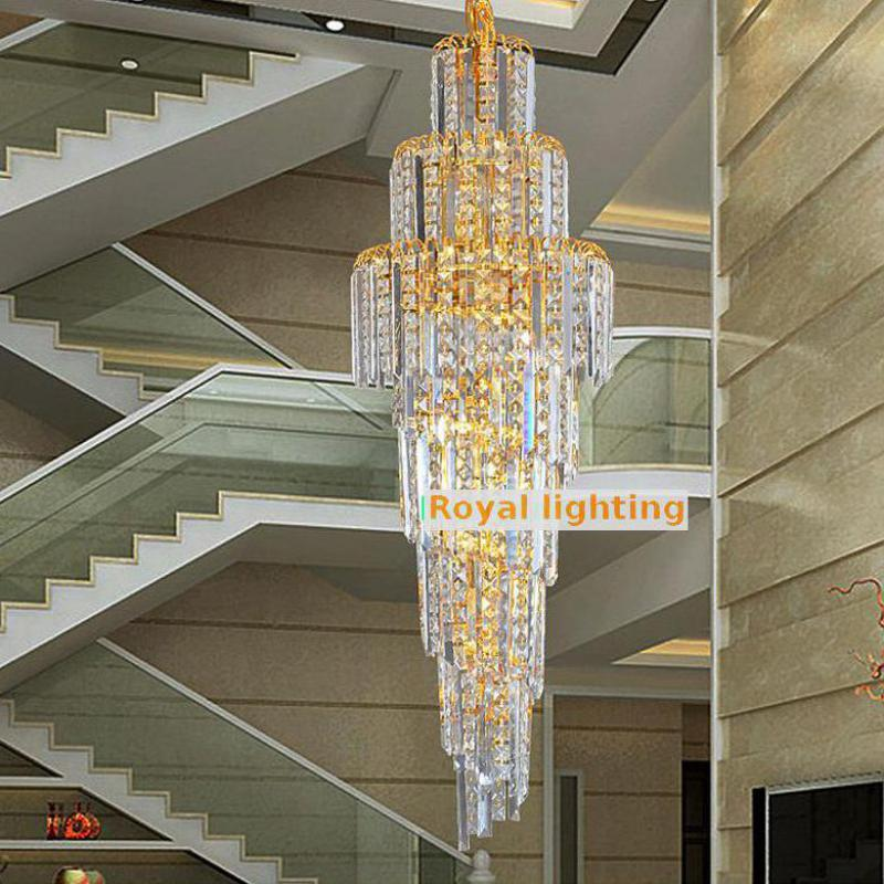 Staircase Retro Gold Crystal Lighting Chandelier For Hotel Church 1 2m High Ceiling Stairway Large Led Stair In Chandeliers From Lights