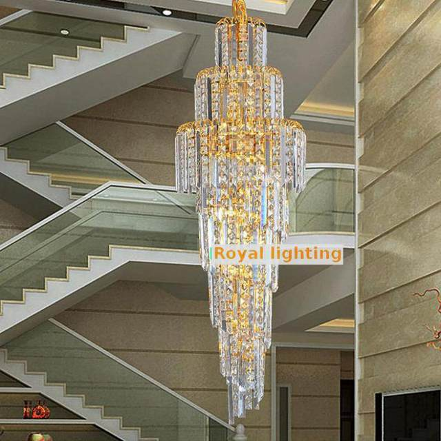 Incroyable Staircase Retro Gold Crystal Lighting Chandelier For Hotel Church 1.2M High  Ceiling Stairway Chandelier Large Led Stair Lighting