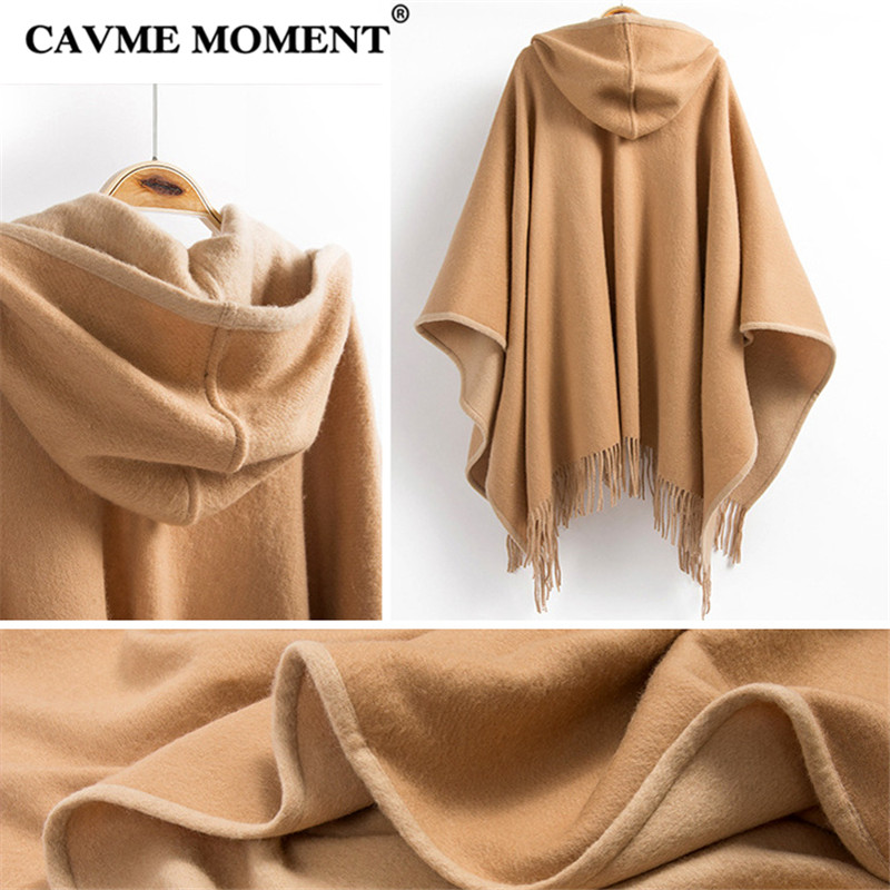 CAVME Hooded Wool Poncho with Tassels for Women Ladies Scarves Winter Grade A 100 Woolen Scarf Cape Wraps Shawl 135 155cm 670g in Women 39 s Scarves from Apparel Accessories