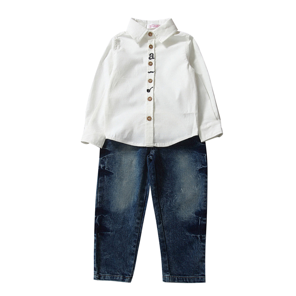 Casual White T-shirt Top with Jeans Pants Boys Fashion Clothes Outfit Long Sleeve Cotton Shirt Tops Jeans Pants Set 2-7 Years charter club 2738 new womens white cotton henley top shirt petites ps bhfo