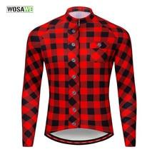 Camisa xadrez manga longa estampada ciclismo, roupa masculina ciclismo corrida mtb bicicleta refletiva