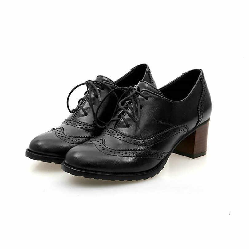 LIN kral yeni büyük boy sivri burun kadın pompaları kare topuk Brogue kısa ayakkabı Lace Up yüksek topuk ayakkabı bayanlar ofis Oxdords ayakkabı