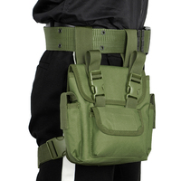 Men Military Oxford Drop Leg Bag Fanny Waist Pack Detachable Hip Bum Motorcycle Rider Drop Thigh Pouch with Green Belt