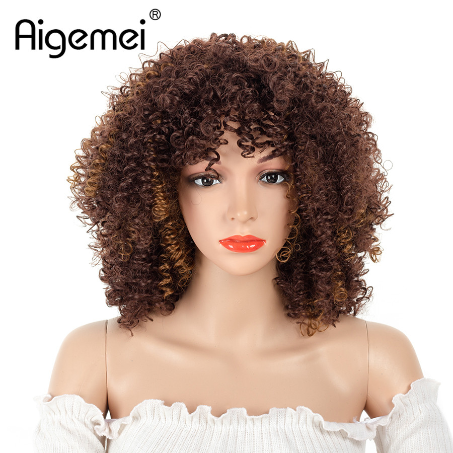 Aigemei 10 InchShort Afro Curly Synthetic Hair Wigs For  Women Heat Resistant Brown Color 100% High Temperature Fiber