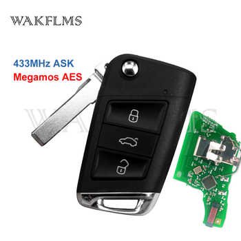 3 Button Flip Remote Car Key 433Mhz For Volkswagen Golf Mk7 VII Skoda Octavia (MQB) with Megamos AES ID88 Chip Without Keyless - DISCOUNT ITEM  15% OFF Automobiles & Motorcycles