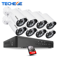 Techege 8CH 1080P Security Camera System 8ch DVR 1080P HDMI Video Output Waterproof Bullet Camera 2MP