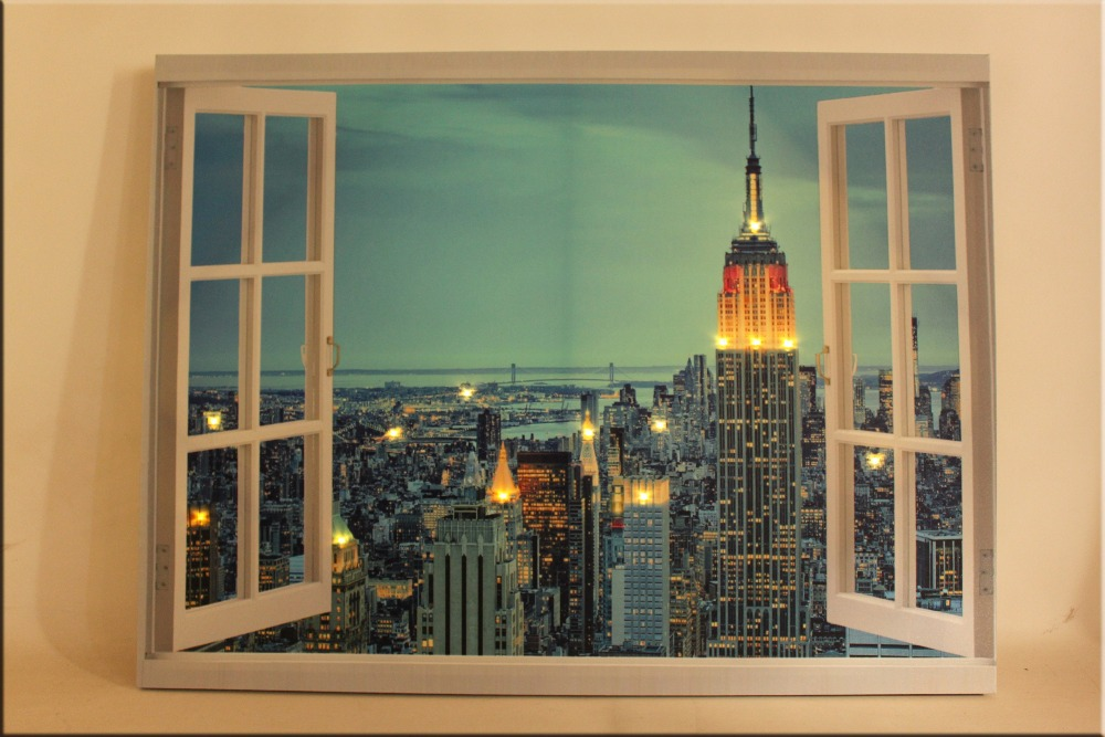 large canvas art cheap with led light,stretched and framed