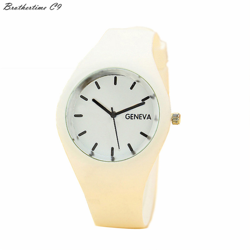 Geneva font b Watches b font Women 12 Candy colored Jelly Silicone Strap Leisure font b