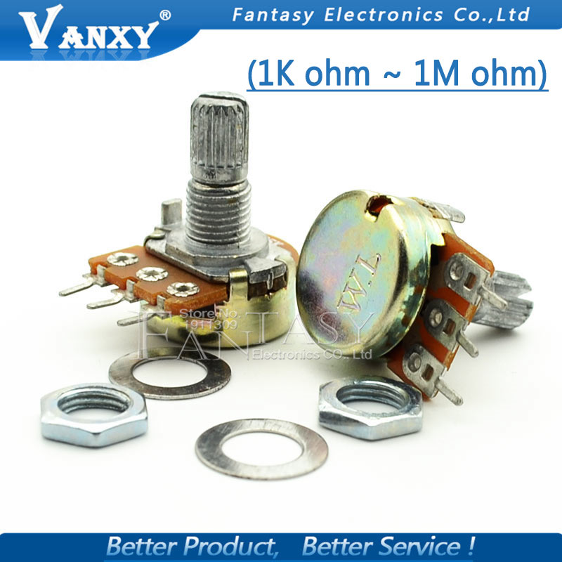 5pcs WH148 3pin B1K B2K B5K B10K B20K B50K B100K B250K B500K B1M Linear Potentiometer 15mm Shaft With Nuts And Washers rv24yn 20s b500k potentiometer