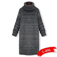 Winter Sexy Turtleneck Knitted Pullover Sweater Dress 4Xl 5Xl Women High Streetwear Dress Sweater Pull Femme