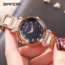 SANDA Rose Gold Watch Women Quartz Watches Ladies Top Brand Luxury Rhinestone Female Wrist Watch Girl Clock Relogio Feminino New
