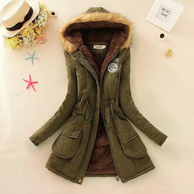 Nueva chaqueta de las mujeres del invierno medio larga espesa más el tamaño  4XL Outwear la capa wadded encapuchada parka delgado de algodón acolchado  ... 78c26b39bd3f