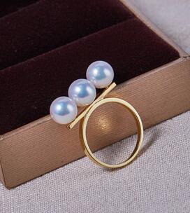 Bijoux de mariage AAA + + 7-7.5mm Réel naturel Akoya blanc perle ronde Anneau 18 kgold