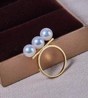 Wedding Jewellery AAA++ 7 7.5mm Real natural Akoya white round pearl Ring 18kgold