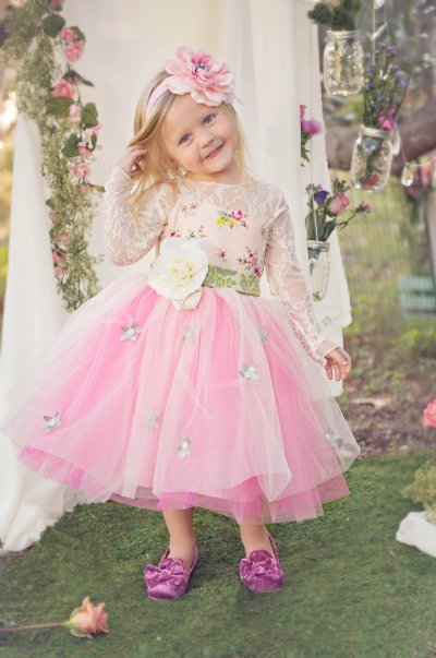 Free Shipping Pretty   Flower     Girl     Dresses   with   Flower   Belt Pageant   Dresses   Long Sleeve Kids Princess Gown Vestidos De Comunion