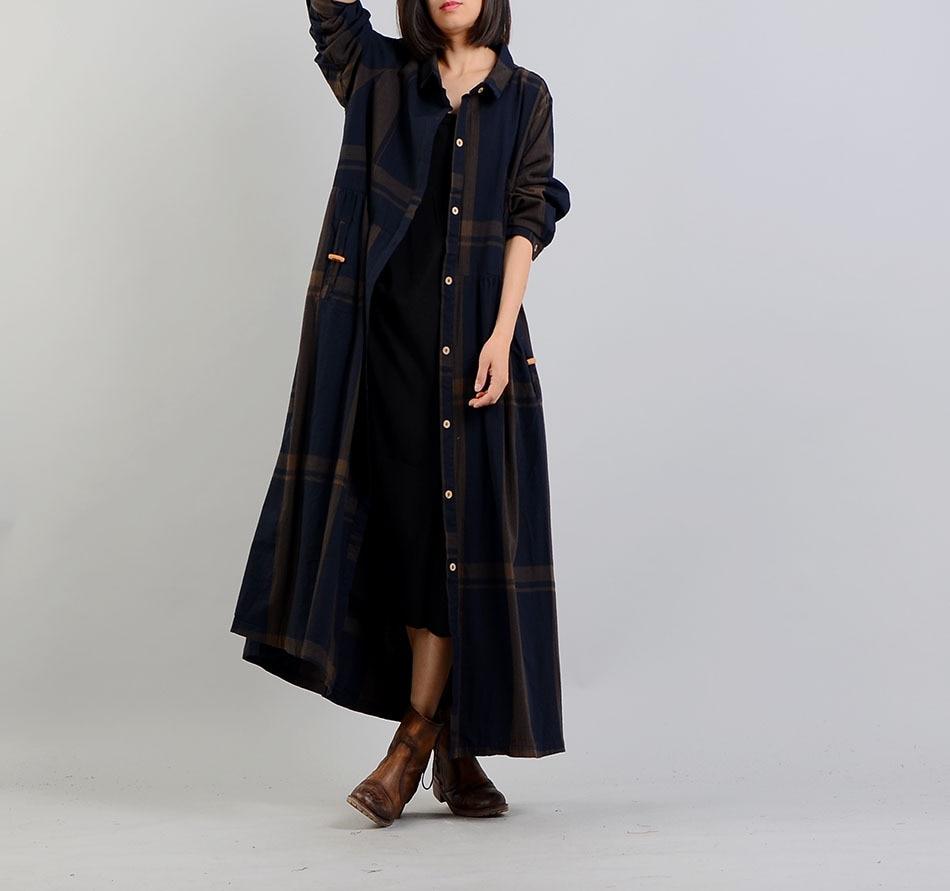Women Spring Cotton Linen Plaid Tench Coat Outwear Female Loose Overcoat Retro Vintage Plaid Thin Coats