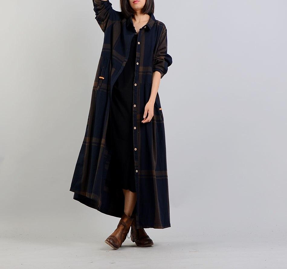 Frauen Frühling Baumwolle Leinen Plaid Schleie Mantel Outwear Weibliche Lose Mantel Retro Vintage Plaid Dünne Mäntel 2018-in Trench aus Damenbekleidung bei  Gruppe 1