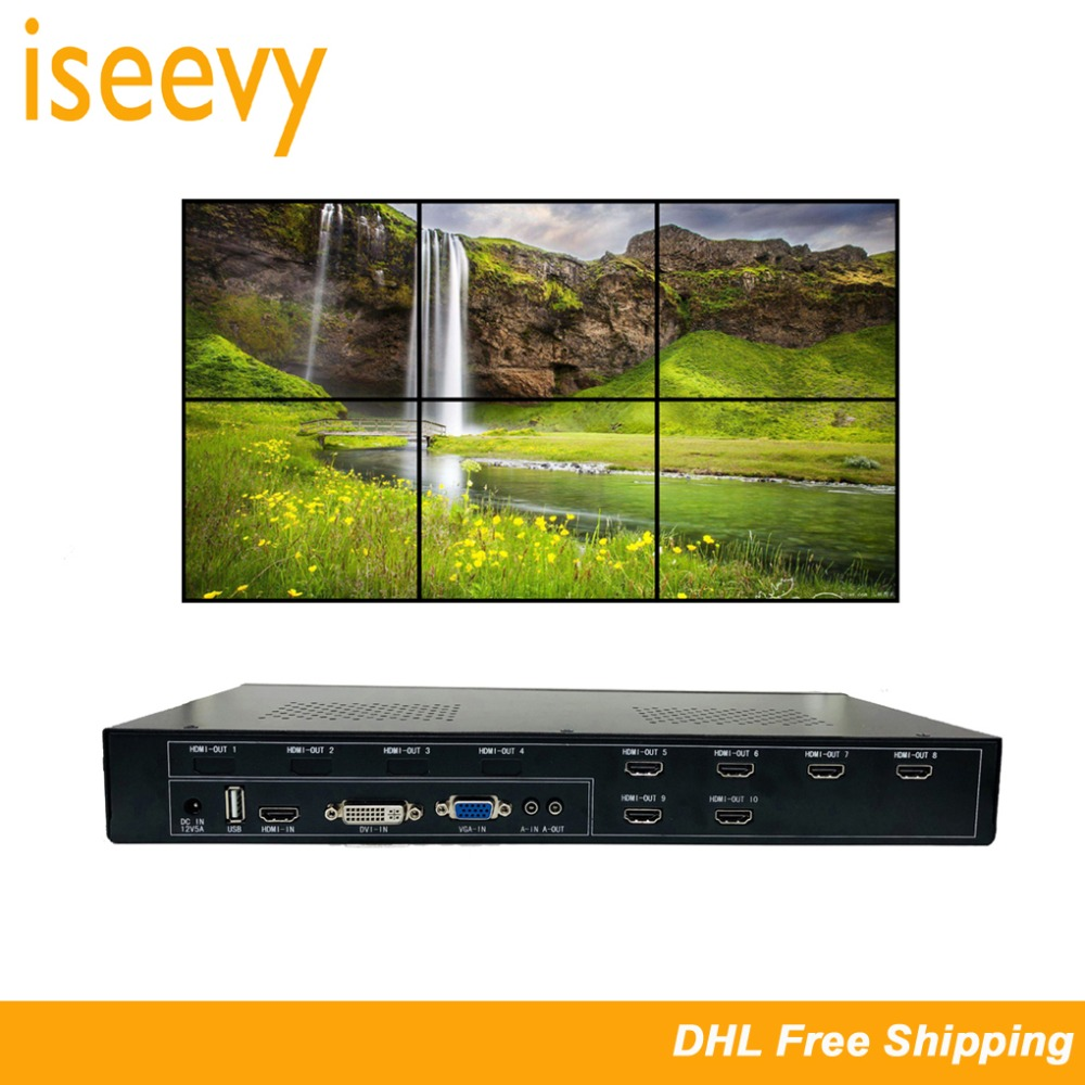 ISEEVY Video Wall Controller 2x3 3x2 HDMI DVI VGA USB Video Processor for 6 TV Splicing Display