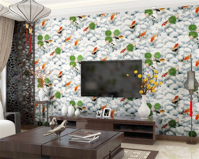 Beibehang Moderne 3D Goldfisch Muster Grüne Tapete Schlafzimmer ...