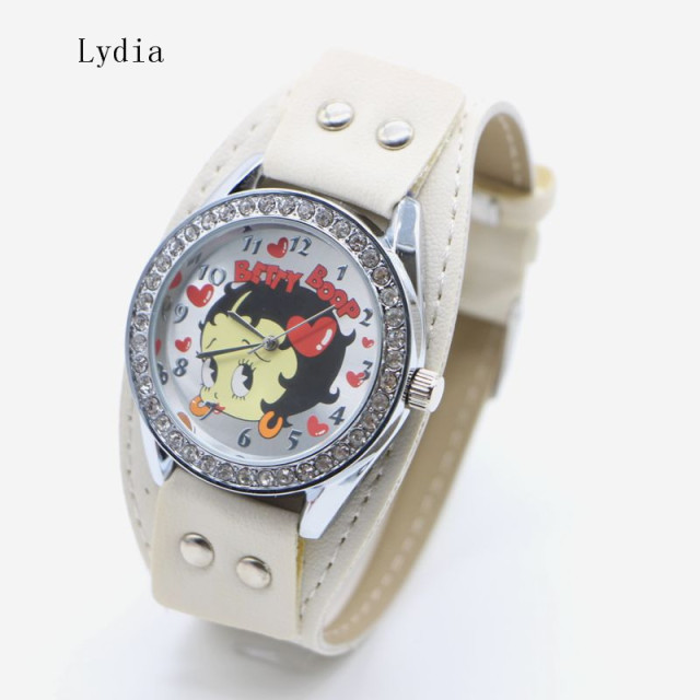 Free Shipping! 1pcs New Pretty Fashion White pink Sexy Betty Boop Womens Ladies Girls Quartz Wristwatch Watches