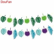 DouFan Πολύχρωμα Banners Χαβάη Luau Κόμμα Προμήθειες Καλοκαίρι Τροπικά φύλλα Φεστιβάλ Διακόσμηση Μη Υφαντά Γενέθλια Γάμος Διακόσμηση