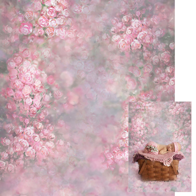 Baby Newborn Pink Floral Photography Backdrop Blurry Printed Flowers Retro  Vintage Photoshoot Props Kids Photo Studio 9927974f8b53