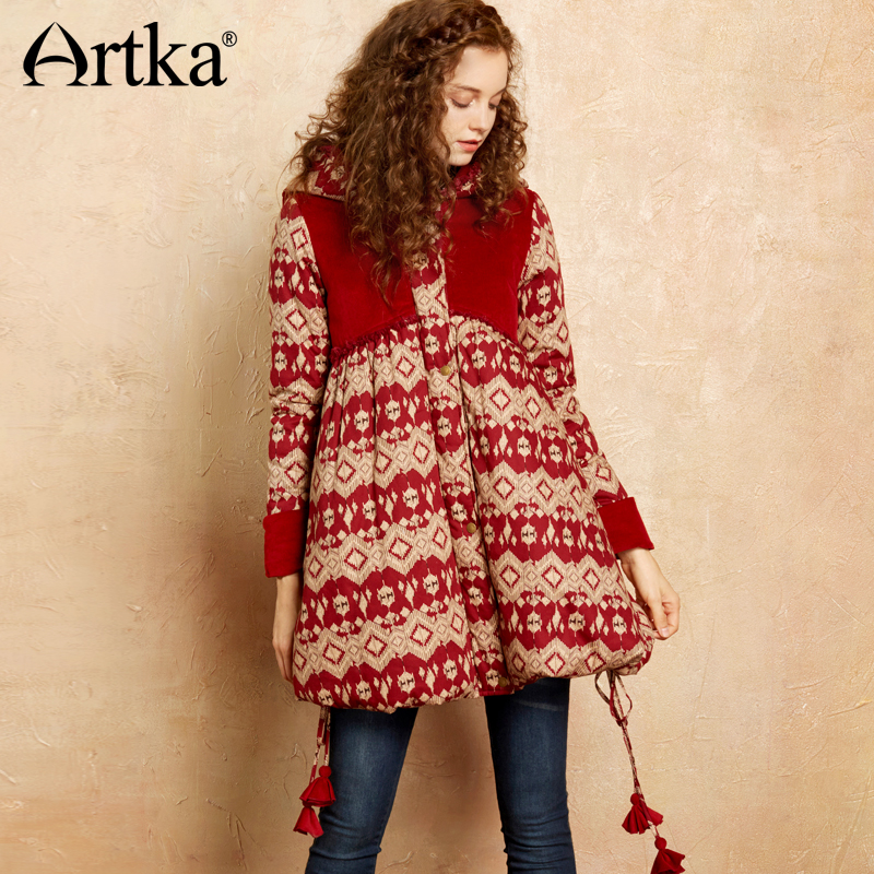 Artka 2018 Autumn&Winter Strap Embroidery Hooded Folk-Custom 100% Cotton Long Coat Jacket  MA10072Q