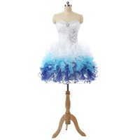 In Stock Pleat Beading Sweetheart Lace Up Back Mini Organza Sexy Cocktail Dresses
