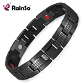 Rainso Four Elements Germanium Magnetic Energy All Black Stainless Steel Bracelet Men Jewelry Free Shipping OSB-1542BK