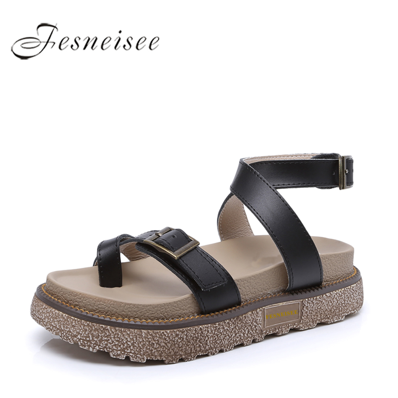 FESNEISEE Summer Gladiator Sandals Women Genuine Leather Flat Fashion Women Shoes Casual Occasions Comfortable Female Sandals 6 discount 2018 fashion leather casual flat shoes women sandals summer shoes flat hollow comfortable breathable size 34 44