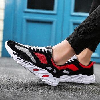 Summer Men Vulcanized Shoes Mesh Casual Shoes 2019 Fashion Sneakers Designer Men Shoes Light Breathable Lace-up Male Footwear zapatillas de moda 2019 hombre