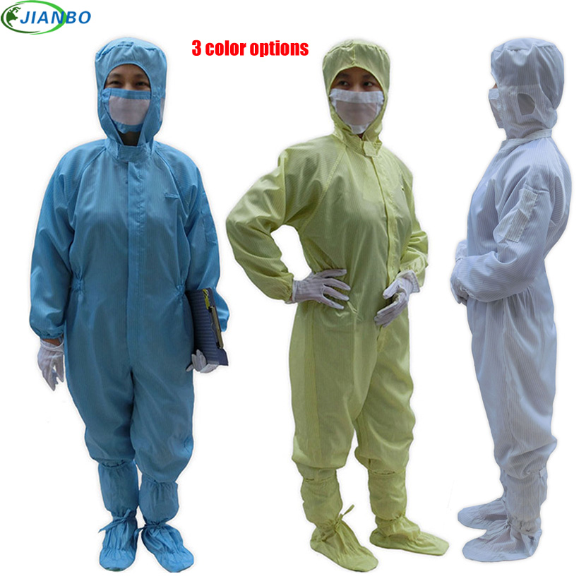 Anti Static Clothing Clean Room Dustproof Jumpsuit Garment Can Permanent Cleaning 100% Polyester Filament Conductive Fibre S~4XL