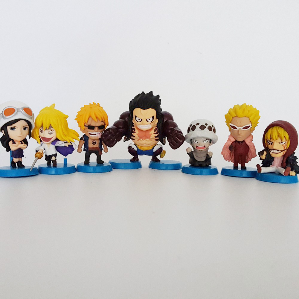 7pcs Tobyfancy One Piece Action Figures Luffy Gear 4 Doflamingo Law Cavendish 50mm Onepiece Anime Figure Toy