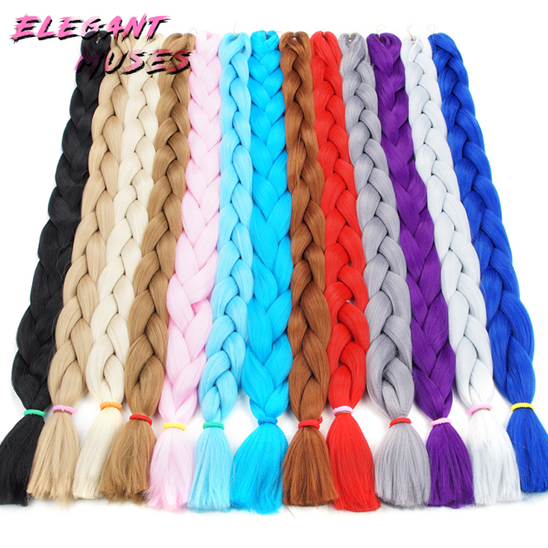 Forceful Plecare Jumbo Braids Synthetic Kanekalon Braiding Hair Extensions Blue Pink White Color Crochet Hair 165g/pcs 82inch Excellent In Cushion Effect Hair Braids