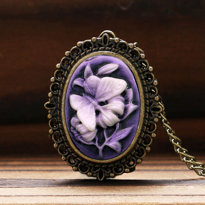 Retro Women's Purple Flower Butterfly Pattern Little Small Pocket Watch Necklace Pendant Fob Watch Birthday Gift For Lady Girls