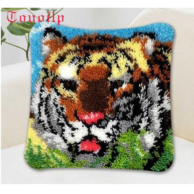 """Gối """"làm điều đó cho mình"""" Cartoon animal tiger phương pháp kit khâu vá latch kit móc tấm thảm Unfinshed/thêu thảm hoa văn"""
