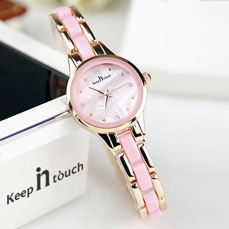 Fashion Pink Imitation Ceramic Watch Women Golden Students Ladies Watch Diamond Purple Resin Relojes Mujer 2018 With Gift Box