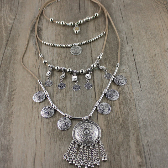 2018 New Arrived Handmade India Silver Coin Pendants Long String Leather Necklaces Ethnic Jewelry For Woman Party Gift by Jaasa