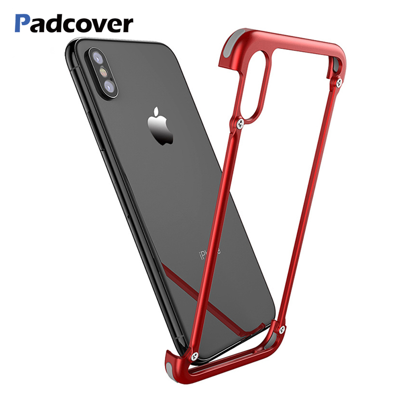PADCOVER Original X Shape Metal Case for iPhone XS Max Case Personality Back Cover for iPhone X shockproof shell Bumper Case