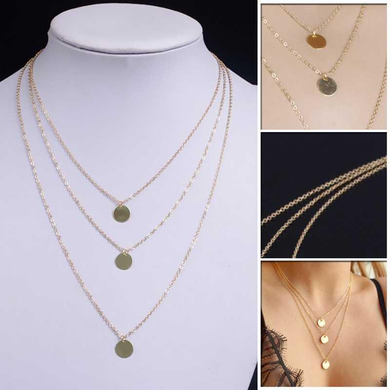 Europejska i amerykańska moda akcesoria nowy rozmiar galwanicznie cekiny i piękne wielowarstwowy długi naszyjniki złoto srebro