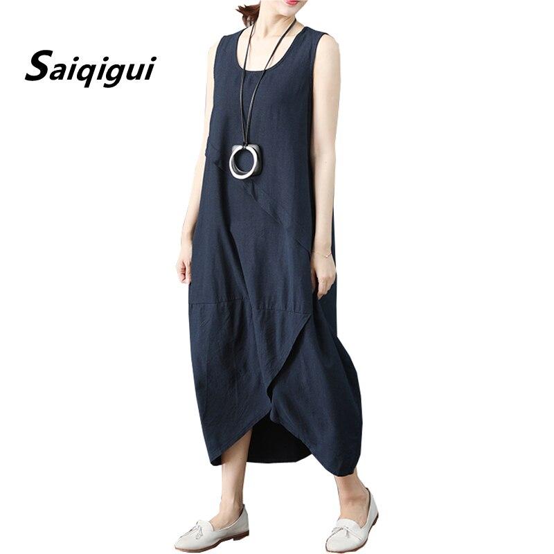 Saiqigui 2019 Sommer kleid ärmellose frauen kleid casual lose Feste O-ansatz baumwolle Leinen kleid lager größe vestidos de festa