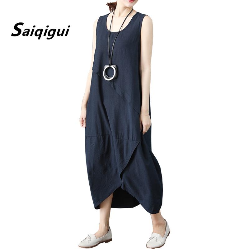 Saiqigui vestido de verão sem mangas vestido feminino casual solto sólido o-pescoço algodão linho vestido lager tamanho vestidos de festa