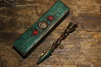 100% old Tibet/Nepal Buddhism,Sword /Ritual Dagger musical instruments Inlaid Turquoise Vajra with box