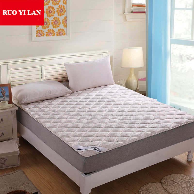 100% Cotton Knitted Water Cube Mattress Cover Home <font><b>Bed</b></font> Protection Pad Single Double Folding Mattress Quilted Lining <font><b>Bed</b></font> Sheet