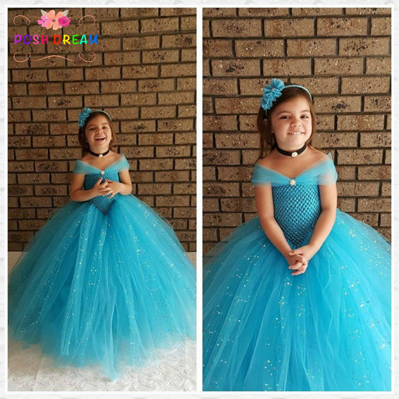 POSH SOGNO Turquoise Blue Flower Girl Wedding Party Dress Glitter Tulle Dress for Kids Ragazze Ball Gown Birthday Pageant Dress