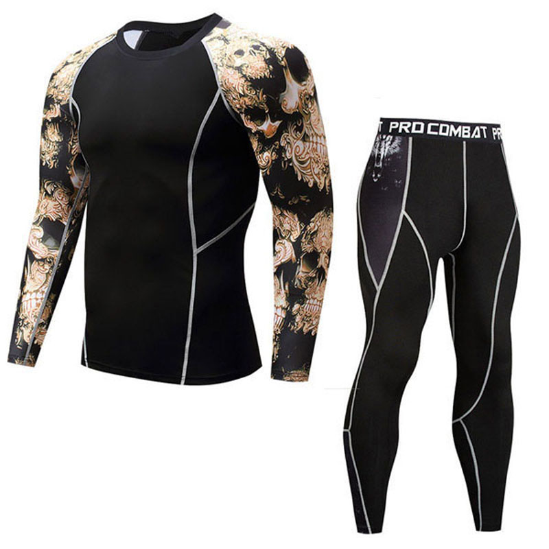 Hot Sales Compression Suits Long Sleeve Shirt+Shorts Fitness Tight Suit Men Jogging Quick Dry Sportswear Men's Running Sets